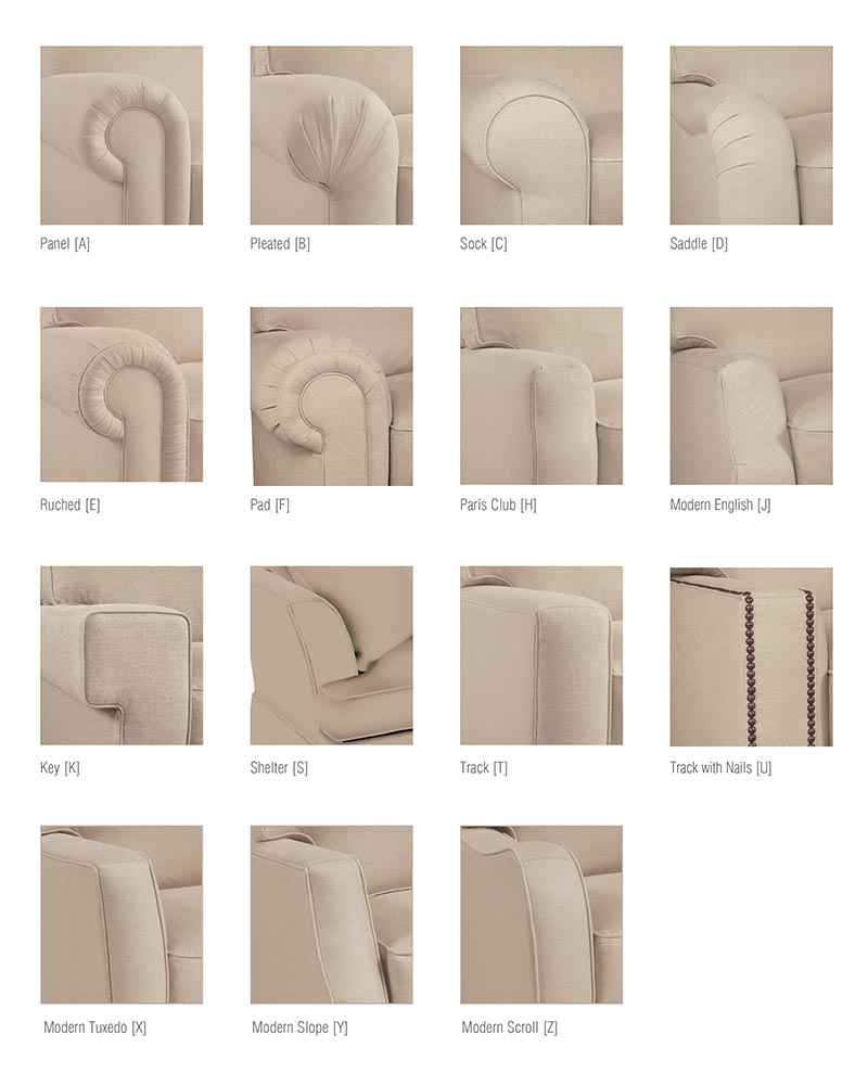 sofa arm styles - interior design