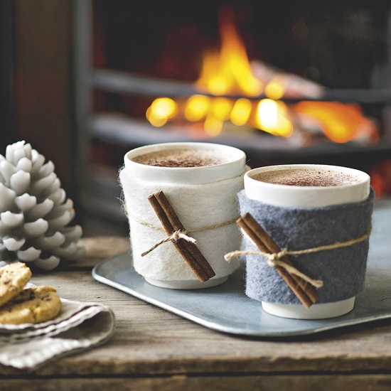 Hot Chocolate Mugs by the Fire